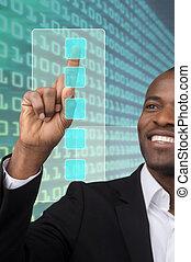 touchscreen button - business man pressing a touchscreen...