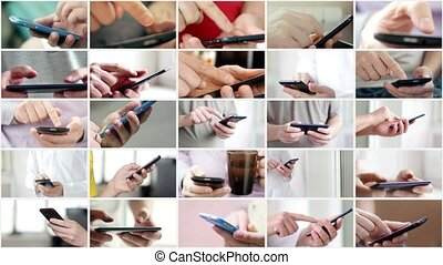touchscreen, collage, moderne, main, téléphone, utilisation, intelligent