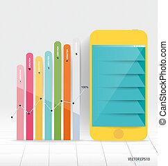 touchscreen, coloré, de, infographic, conception, appareil, template.