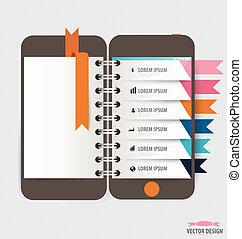 touchscreen, coloré, infographic, conception, appareil, template.