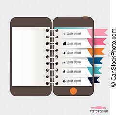 touchscreen, colorito, infographic, disegno, congegno, template.