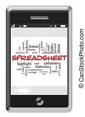 touchscreen, conceito, palavra, spreadsheet, telefone, nuvem