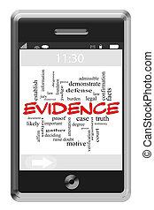 touchscreen, concept, mot, évidence, téléphone, nuage