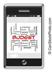 touchscreen, concept, mot, budget, téléphone, nuage