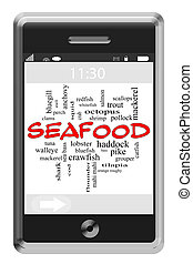 touchscreen, concept, mot, fruits mer, téléphone, nuage