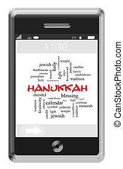touchscreen, concept, mot, hanukkah, téléphone, nuage