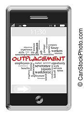touchscreen, concept, mot, outplacement, téléphone, nuage