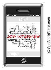 touchscreen, concept, mot, téléphone, entretien travail, nuage