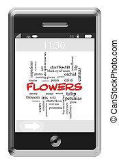 touchscreen, concept, mot, téléphone, fleurs, nuage