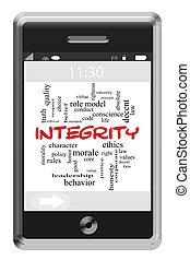 touchscreen, concept, mot, téléphone, intégrité, nuage