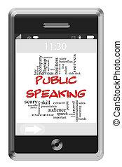 touchscreen, concept, mot, téléphone, nuage, prise parole public