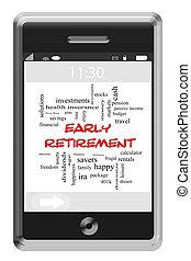 touchscreen, concept, mot, tôt, téléphone, retraite, nuage