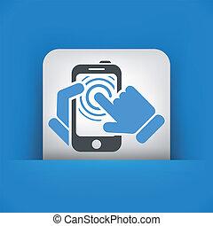 touchscreen, concept, smartphone, icône