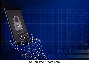 touchscreen, concepto, móvil, -, mano, teléfono, vector, ...