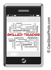 touchscreen, concepto, palabra, hábil, teléfono, trueques,...