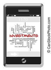 touchscreen, concepto, palabra, teléfono, inversiones, nube