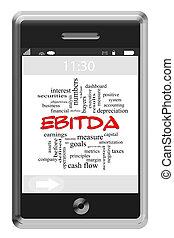 touchscreen, concetto, parola, telefono, ebitda, nuvola