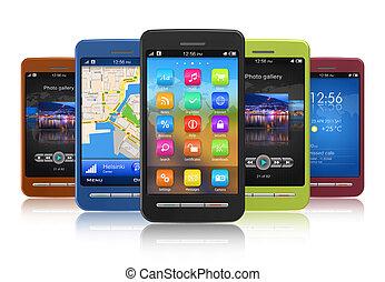 touchscreen, conjunto, smartphones