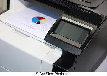 Touchscreen control panel of modern multifunction printer
