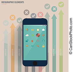 Touchscreen device with application icon and graph. Vector ...