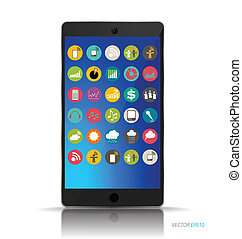 Touchscreen device with application web icons. Vector illustration.