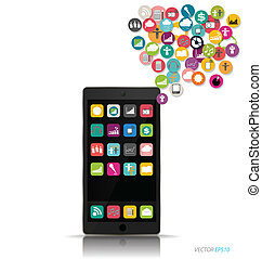 Touchscreen device with cloud of colorful application. ...