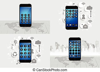 Touchscreen device with cloud of application icons. Vector illustration.