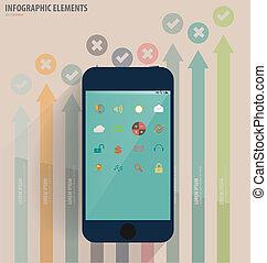 touchscreen, dispositivo, con, aplicación, icono, y, graph.,...