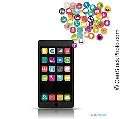 touchscreen, dispositivo, con, nube, de, colorido,...