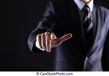touchscreen, drückenden knopf, hand