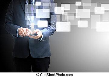 touchscreen, dzierżawa, biznesmen