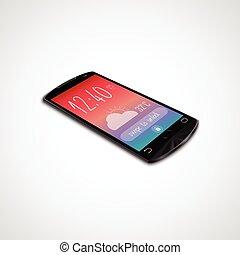 touchscreen, elszigetelt, smartphone