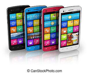 touchscreen, ensemble, couleur, smartphones