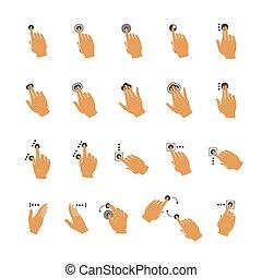 touchscreen, ensemble, main, gestes, vecteur, commun