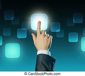 touchscreen, fogalom, rámenős, button., válogatott, kéz, bábu