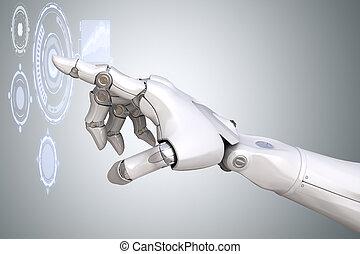 touchscreen, fonctionnement, robot's, réalité virtuelle, bras