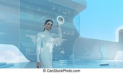 touchscreen, futuro, tecnologia, interface.