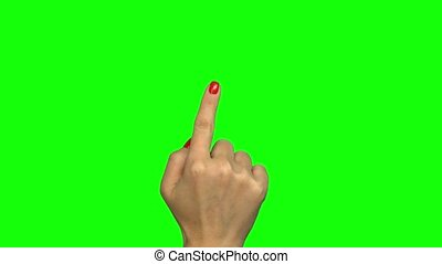 Touchscreen gestures hand on green screen
