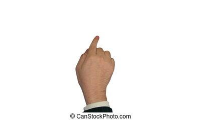 touchscreen, gestures., maschio, mano, in