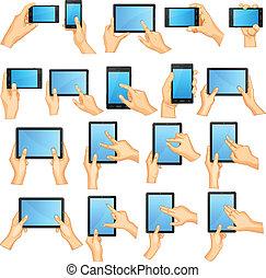 touchscreen, gestus, hånd