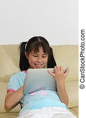 touchscreen, gosse, asiatique, tablette, jouer