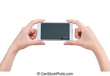 touchscreen, groß,  Hand, Telefon, Besitz, klug