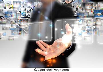 touchscreen, holdingen, affärsman