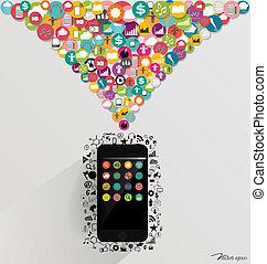 touchscreen, illustration., 다채로운, application., 벡터, 장치, 구름
