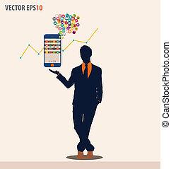 touchscreen, illustration., colorido, actuación, application., vector, dispositivo, hombre de negocios, nube