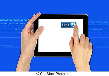 touchscreen, informatique, aimer, bouton, main, urgent, tenue, mâle