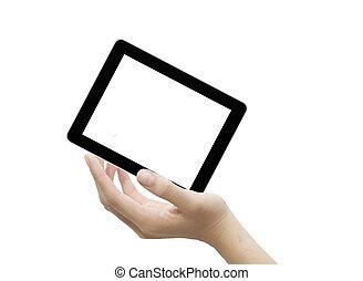 touchscreen, informatique, mâle, main