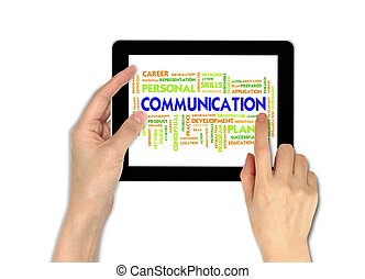 touchscreen, informatique, mâle, tenant main