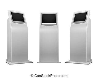 touchscreen, kiosque, illustration, vecteur, stand, interactif, électronique, exposer, publicité