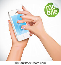 Touchscreen Mobile Phone - Vector Hand Holding Touchscreen...